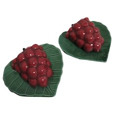 Pair of Boysenberry Shaped Wall Pockets Made in California