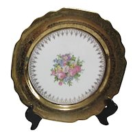 Vogue Dinner Plate 22k Gold Border Floral Bouquet Center