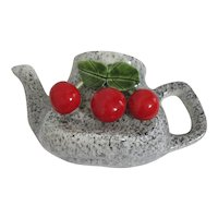 Teapot with Cherries Ceramic Wall Pocket for Plant
