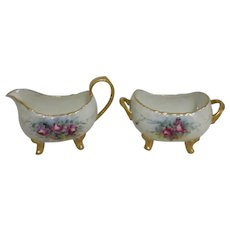 T&V Limoges France Cream & Sugar Set Roses Gold Trim