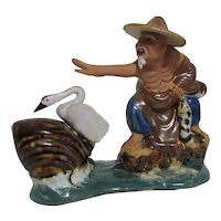 Chinese Fisherman Figurine with Goose and Fish