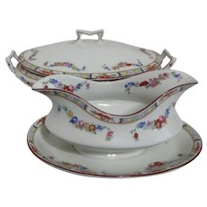 J & G Meakin Covered Oval Vegetable Casserole Dish and Gravy Boat with Attached Underplate