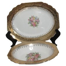 Vogue Wide Gold Border Floral Bouquet Center Platter and Vegetable Bowl
