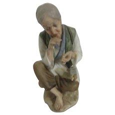 Seated Asian Older Woman with Yarn Figurine cKelvin