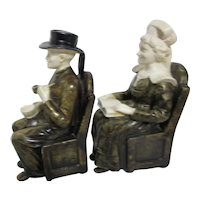 Seated Man and Woman Book Ends Dressed in Vintage Costumes