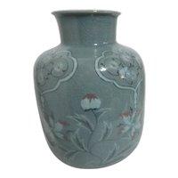 Celadon Vase with Floral Design Heavily Crackled