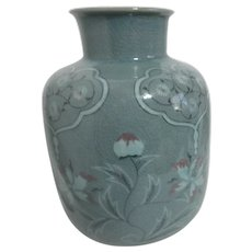 Celadon Vase with Floral Design Heavily Crackled
