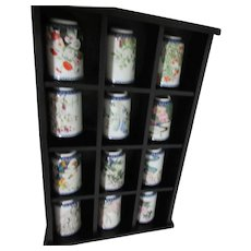 12 Japanese Small Vases in Display Shelf Franklin Mint 1981