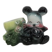 Unmarked Teddy Bear, Baseball and Clown Ceramic Planter