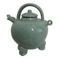 Celadon Three Legged Dragon Teapot