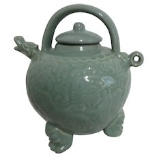 Celadon Three Legged Dragon Teapot