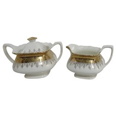 W.S. George White Pottery Lido Pattern Cream and Covered Sugar Set
