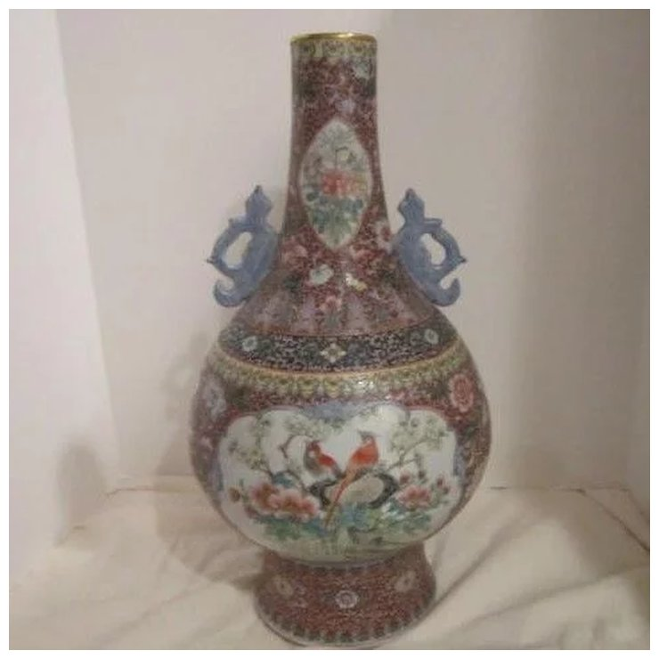 Vintage Large Porcelain Chinese Hand Painted Vase With Scenes Of