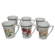Set of 6 Portmeirion Ceramic Cups Botanic Roses