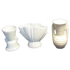 Set of Three Small White Pottery Vases