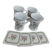 Set of 4 Portmeirion Potteries Ltd Botanical Mugs with Matching Coasters