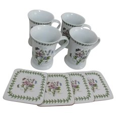Set of 4 Portmeirion Potteries Ltd Botanical Mugs with Matching Coasters