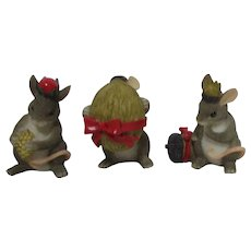 Fitz & Floyd Charming Tails Christmas Three Wise Mice