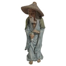 Asian Ceramic Figurine Man with Scroll