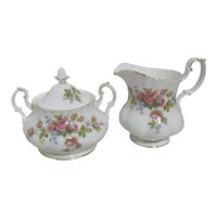 Royal Albert Moss Rose Pattern Creamer and Lidded Sugar Bowl