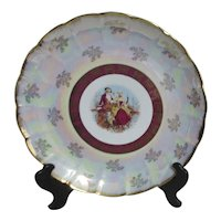 """14"""" Wide Large Display Plate Japanese Colonial Couple Scene"""