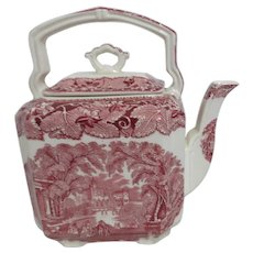 Mason's Vista Ironstone China Teapot Red & White