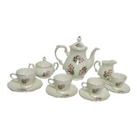 Coffee Set of Pot, 4 Cups and Saucer, Cream and Sugar