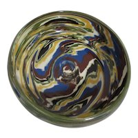 Round Pottery Bowl with Multi-Colored Swirl Decoration