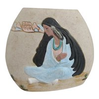 D. Williamson South Western Vase with Native American Maiden Decoration