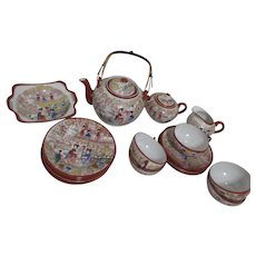 Japanese Tea Set with Geishas in Garden Scene Transfers with Hand Paint