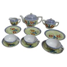 Child's Tea Set Luster Finish Floral Design Service for 3