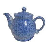 Blue & White Spongeware or Splatterware Teapot
