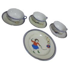 3 Lusterware Doll Teacups and Saucers with Cat and Ball