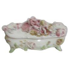 Capodimonte  Style Rectangular Lidded Vanity Box
