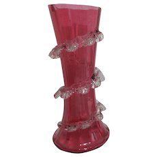 Victorian Cranberry Glass Vase with Applied Spiraling Ruffle