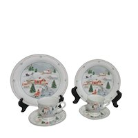 Set of 2 Each Sango Christmas Plate, Cup and Saucer