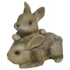 Two Bunny Ceramic Sculpture