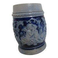 Salt Glaze Blue and Grey Mug with Kissing Angels