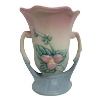 Hull Wild Flower Double Handled Pink, Cream and Blue Vase