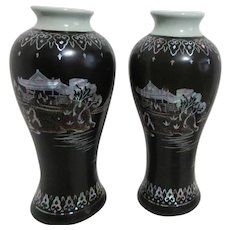 Pair of Celadon Vases with Black Lacquer and Mother of Pearl Inlay Ornamentation