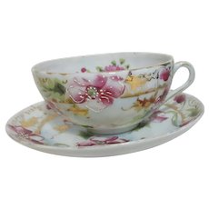Japanese Cup and Saucer Flowers with Applied Outlining