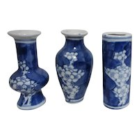 Set of 3 Small Blue and White Asian Vases