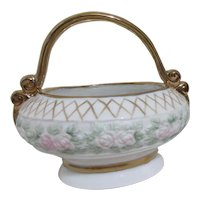 Small Handpainted Porcelain Basket Signed by Jeanette E. Gorman