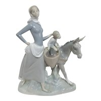 LLadro #4666 Woman with Girl on Donkey