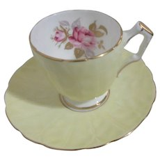 Aynsley Bone China Small  Cup and Saucer Yellow with Pink Rose and Gold Trim