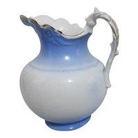 Antique Victorian KT & K Company Semi-Vitreous Porcelain Water/Milk Pitcher Blue & White Gilt Trim