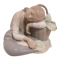 LLadro Young Girl Resting on Wicker Basket Filled with Vegetables