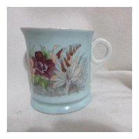 Moustache Cup with Floral Transfer and Gold Highlights