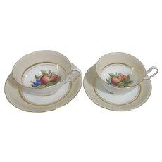 Set of 2 Royal Clarence Cups & Saucers Fruit Motif Gold Highlights