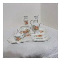 8 Piece Ceramic Vanity Set Orange Roses Decoration
